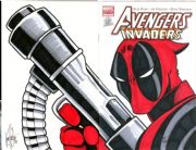 Avengers Invaders #1 Dynamic Forces Authentix Variant Signed Ken Haeser Remarked Deadpool Sketch DF COA comic